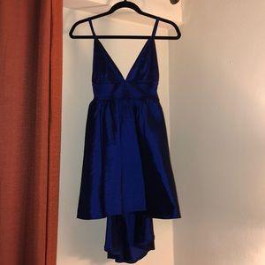 Navy Blue V Neck Dress